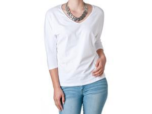 FEMME by Tresics Women's V-Neck Half Sleeve Dolman Top, White, Size Small