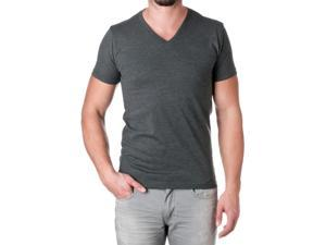 Next Level Apparel Men's Premium Cotton Blend V-Neck Shirt, Charcoal, Size Small