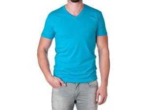 Next Level Apparel Men's Premium Cotton Blend V-Neck Shirt, Turquoise, Size Medium
