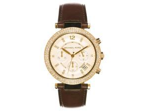 Michael Kors Womens Parker Leather Strap Chronograph Watch