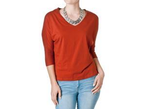 FEMME by Tresics Women's V-Neck Half Sleeve Dolman Top, Rust, Size Small