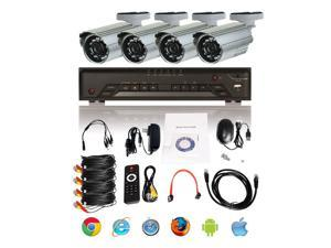 BV Tech 4 Ch D1 Realtime DVR w/ 500G HD + 4x 520 TVL Compact Fixed Lens Bullet Cameras, Security Surveillance Kit Solution