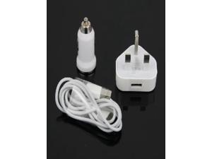 Wall AC+ Car Charger Adapter+ USB Cable for iPod iPhone