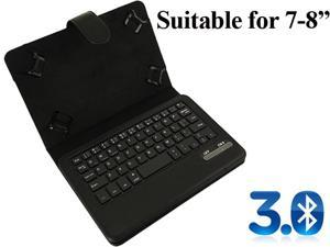 """OXA Wireless Bluetooth 3.0 PU leather Black Black Keyboard Cover Case with stand for 7""""-8"""" Tablets"""