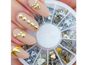 120X 3D Nail Art Tips Decoration Rhinestone Metal Gold Silver Studs Wheel