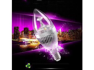 E14 85V-265V  Warm White 3W Crystal LED Spot Candle Light Lamp Bulb Slivery
