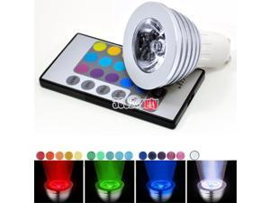 3W RGB 16 Colors LED Light Magic Ceiling Spotlight Bulb IR Remote GU10