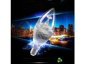 E14 85v-265v Cool  White 3W Crystal LED Spot Candle Light Lamp Bulb Slivery