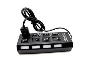 Black High Speed 4 Port PC Laptop USB 2.0 Hub Adapter Cable For PC Laptop Mac