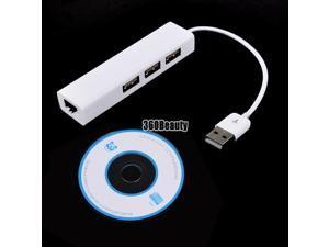 4 in 1 USB to RJ-45 Ethernet 10/100Mbps Network LAN Adapter 3 Ports USB Hub