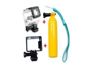 Multifunctional Bobber Floating Handheld Stick W/ Wrist Strap +Waterproof Housing Case +Border Frame for GoPro Hero 3