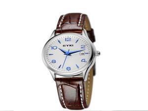 New Retro Silver Edge PU Leather Band Woman's Wrist Watch Bracelet 2 Colors Optional