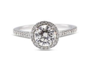 1.89 Carat Ideal Cut Round I-SI1 Diamond 18k White Gold Micro Pave Engagement Ring 2.86gm