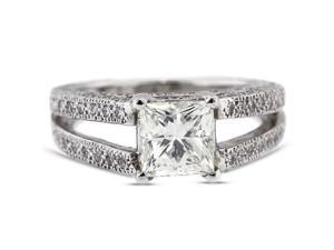 3.11 Carat Ideal Cut Princess F-SI1 Diamond 14k White Gold Pave Engagement Ring 5.36gm