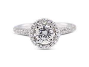 1.55 Carat Ideal Cut Round J-SI1 Diamond 18k White Gold Micro Pave Engagement Ring 4.22gm
