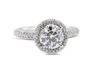 1.34 Carat Excellent Cut Round I-SI2 Diamond 18k White Gold Micro Pave Engagement Ring 3.75gm