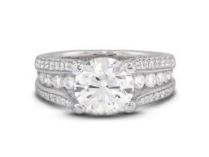 5.71 Carat Excellent Cut Round I-SI3 Diamond 18k White Gold Micro Pave & Channel Engagement Ring 9.55gm