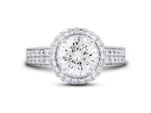 4.00 Carat Excellent Cut Round J-VS2 Diamond 18k White Gold Micro Pave Engagement Ring 6.90gm