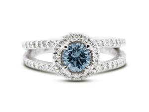 1.38 Carat Excellent Cut Round Blue-VS2 Diamond 14k White Gold Pave Engagement Ring 4.30gm