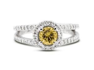 1.42 Carat Ideal Cut Round Yellow Diamond 14k White Gold Pave Engagement Ring 4.30gm