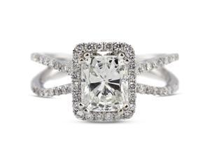 2.40 Carat Ideal Cut Radiant D-VS1 Diamond 18k White Gold Micro Pave Engagement Ring 4.21gm