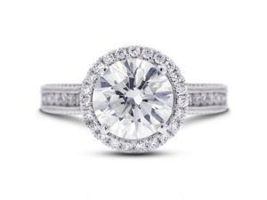 3.72 Carat Excellent Cut Round H-VS2 Diamond 18k White Gold Micro Pave Engagement Ring 5.74gm