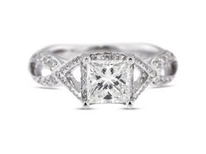 2.10 Carat Excellent Cut Princess G-VS2 Diamond 18k White Gold Micro Pave Engagement Ring 3.62gm