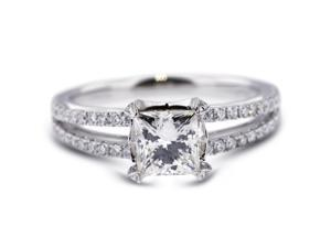 2.44 Carat Ideal Cut Princess G-I1 Diamond 18k White Gold Micro Pave Engagement Ring 3.51gm