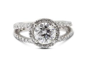 3.09 Carat Excellent Cut Round G-SI3 Diamond 14k White Gold Pave Engagement Ring 5.84gm