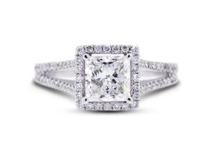 3.15 Carat Excellent Cut Princess J-SI1 Diamond 18k White Gold Micro Pave Engagement Ring 4.17gm