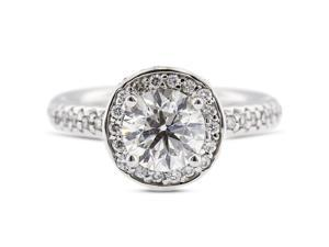 1.71 Carat Ideal Cut Round H-SI1 Diamond 14k White Gold Pave Engagement Ring 6.19gm