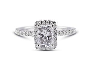 2.99 Carat Excellent Cut Radiant K-SI2 Diamond 18k White Gold Micro Pave Engagement Ring 3.72gm