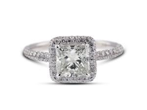 2.92 Carat Excellent Cut Princess H-I1 Diamond 18k White Gold Micro Pave Engagement Ring 2.66gm