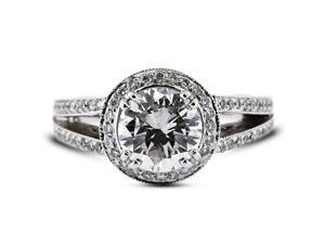 2.22 Carat Ideal Cut Round H-SI2 Diamond 14k White Gold Pave Engagement Ring 6.50gm