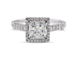 2.96 Carat Ideal Cut Princess H-SI1 Diamond 18k White Gold Micro Pave Engagement Ring 3.90gm