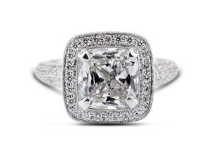 2.44 Carat Excellent Cut Cushion K-SI2 Diamond 18k White Gold Micro Pave Engagement Ring 7.30gm