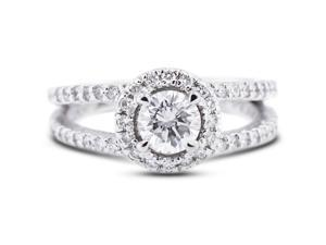 1.82 Carat Ideal Cut Round F-SI3 Diamond 14k White Gold Pave Engagement Ring 4.30gm