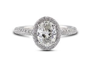 1.59 Carat Ideal Cut Oval I-VS2 Diamond 18k White Gold Micro Pave Engagement Ring 3.50gm