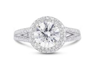 3.10 Carat Excellent Cut Round F-SI2 Diamond 18k White Gold Micro Pave Engagement Ring 5.34gm