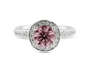 3.46 Carat Excellent Cut Round Pink-SI3 Diamond 14k White Gold Pave Engagement Ring 6.19gm