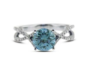 1.46 Carat Excellent Cut Round Blue-SI2 Diamond 18k White Gold Micro Pave Engagement Ring 3.53gm