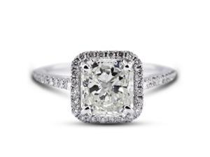 2.45 Carat Excellent Cut Cushion K-VS2 Diamond 18k White Gold Micro Pave Engagement Ring 3.68gm