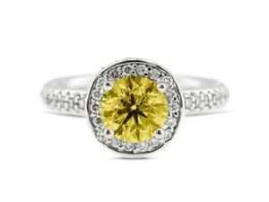 2.06 Carat Excellent Cut Round Yellow Diamond 14k White Gold Pave Engagement Ring 6.19gm