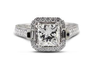4.27 Carat Ideal Cut Princess G-SI1 Diamond 18k White Gold Micro Pave Engagement Ring 6.63gm