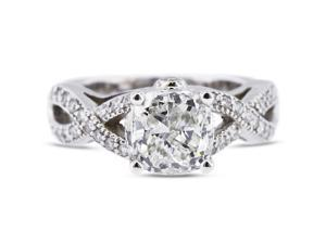 2.29 Carat Excellent Cut Radiant E-VS2 Diamond 14k White Gold Pave Engagement Ring 7.85gm