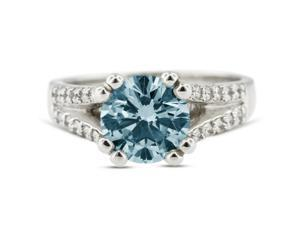 1.58 Carat Ideal Cut Round Blue-I1 Diamond 14k White Gold Pave Engagement Ring 5.66gm