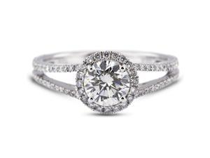 2.17 Carat Ideal Cut Round I-SI1 Diamond 18k White Gold Micro Pave Engagement Ring 3.13gm