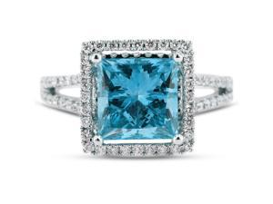 3.18 Carat Excellent Cut Princess Blue-VS2 Diamond 18k White Gold Micro Pave Engagement Ring 4.85gm