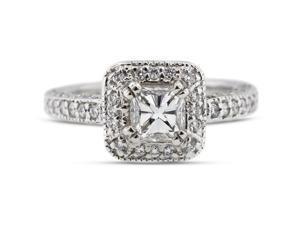 3.07 Carat Ideal Cut Radiant I-SI2 Diamond 14k White Gold Pave Engagement Ring 6.31gm