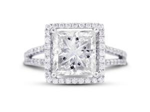 5.13 Carat Ideal Cut Radiant F-VS2 Diamond 18k White Gold Micro Pave Engagement Ring 4.85gm